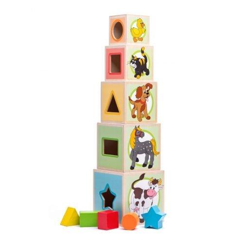 Woody Věž s pěti kostkami Zvířátka
